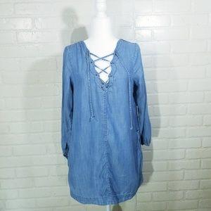 AEO Chambray Dress Peasant sz M